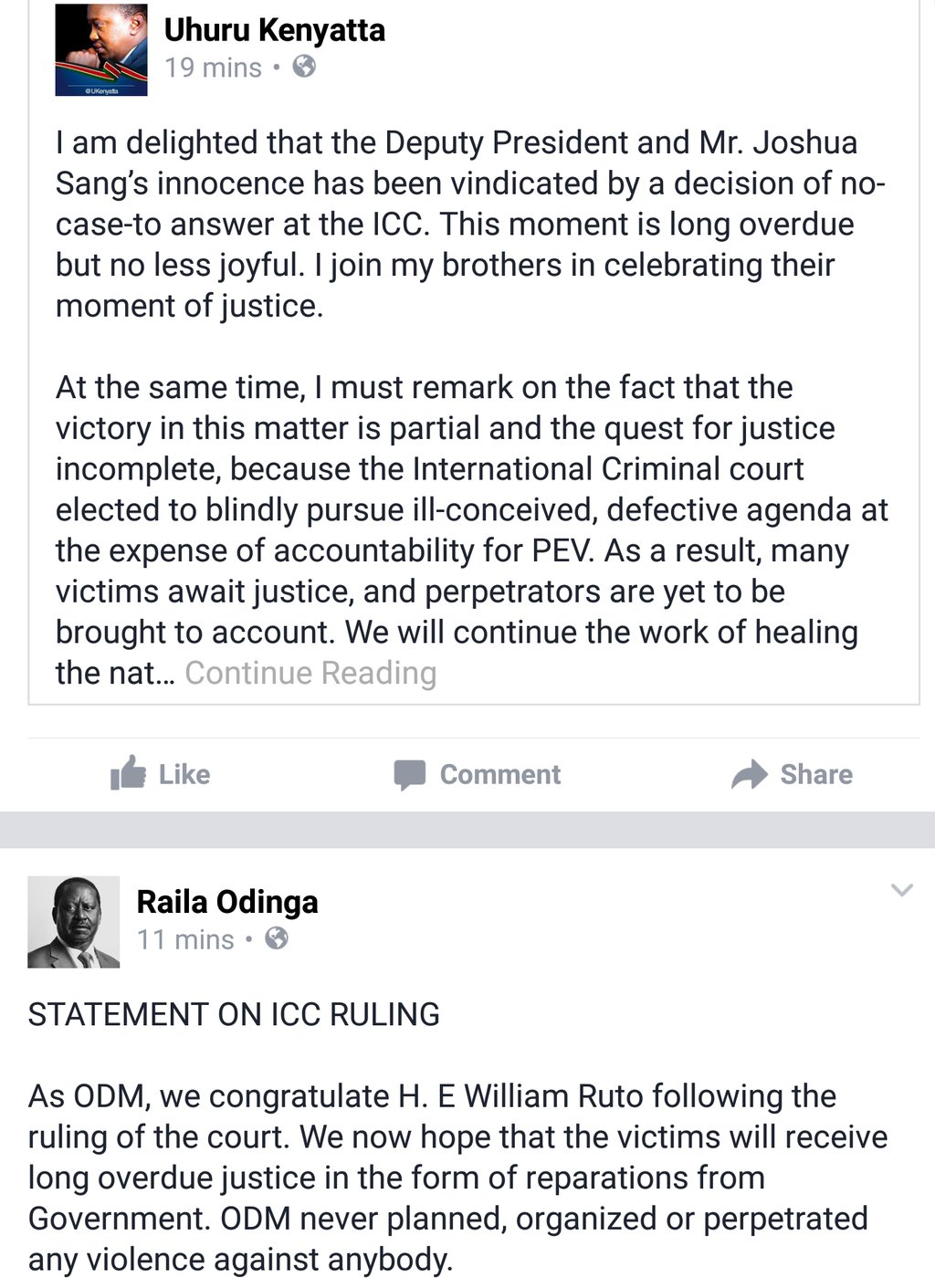 Uhuru Kenyatta and Raila Odinga congratulate William Ruto and Joshua Arap Sang after no case to answer motion in the ICC was dropped