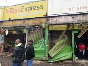Stalls along Ronald Ngala Street Opposite Tuskys looted Ksh.100m