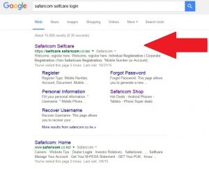 searching Safaricom Selfcare Login page on Google