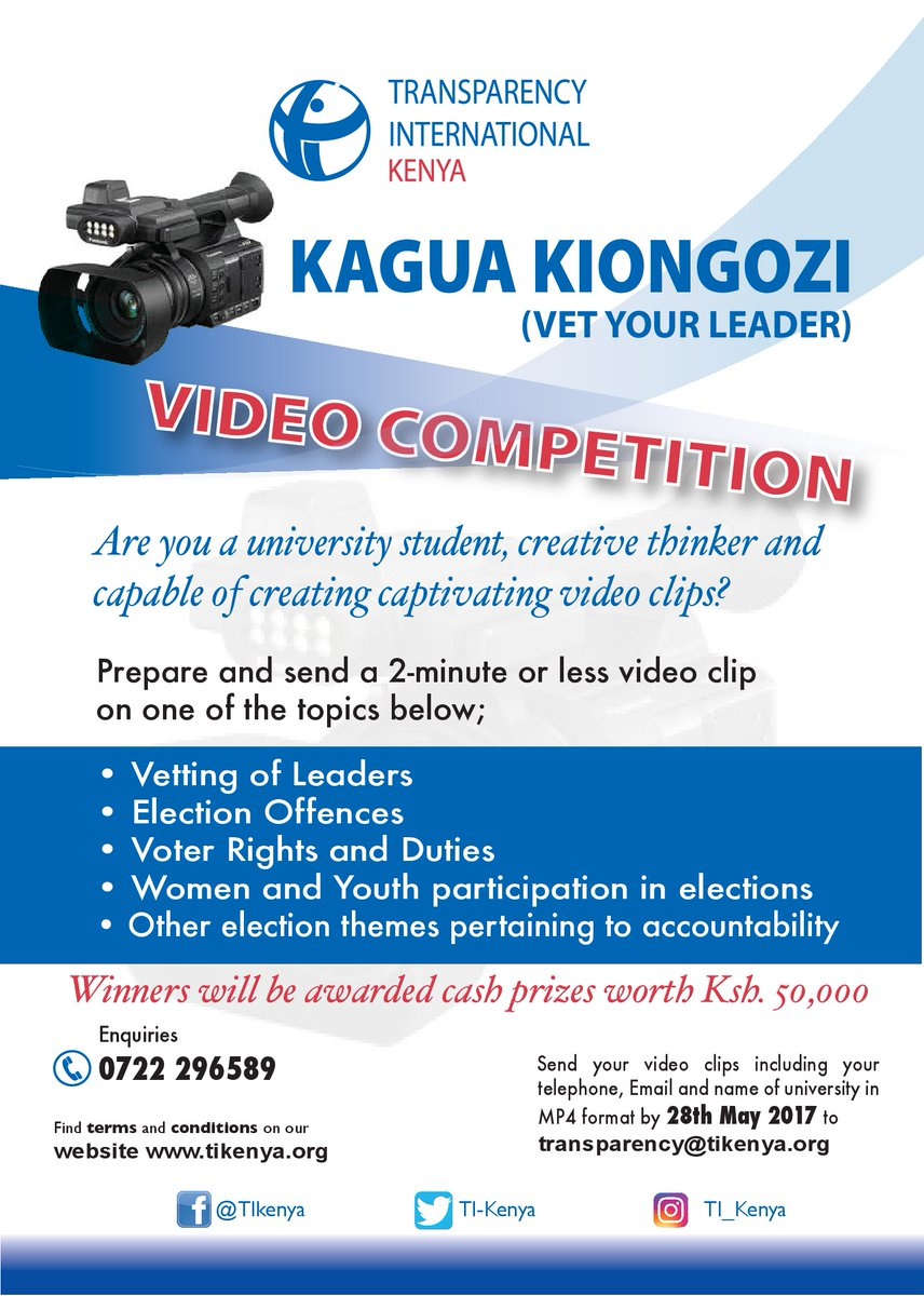 Kagua Kiongozi Video Competition by TI Kenya, Vet your leader, Transparency international Kenya, university students, Vetting of Leaders, Election Offences, Voter rights and duties, Women and Youth participation in elections, Voter Education project